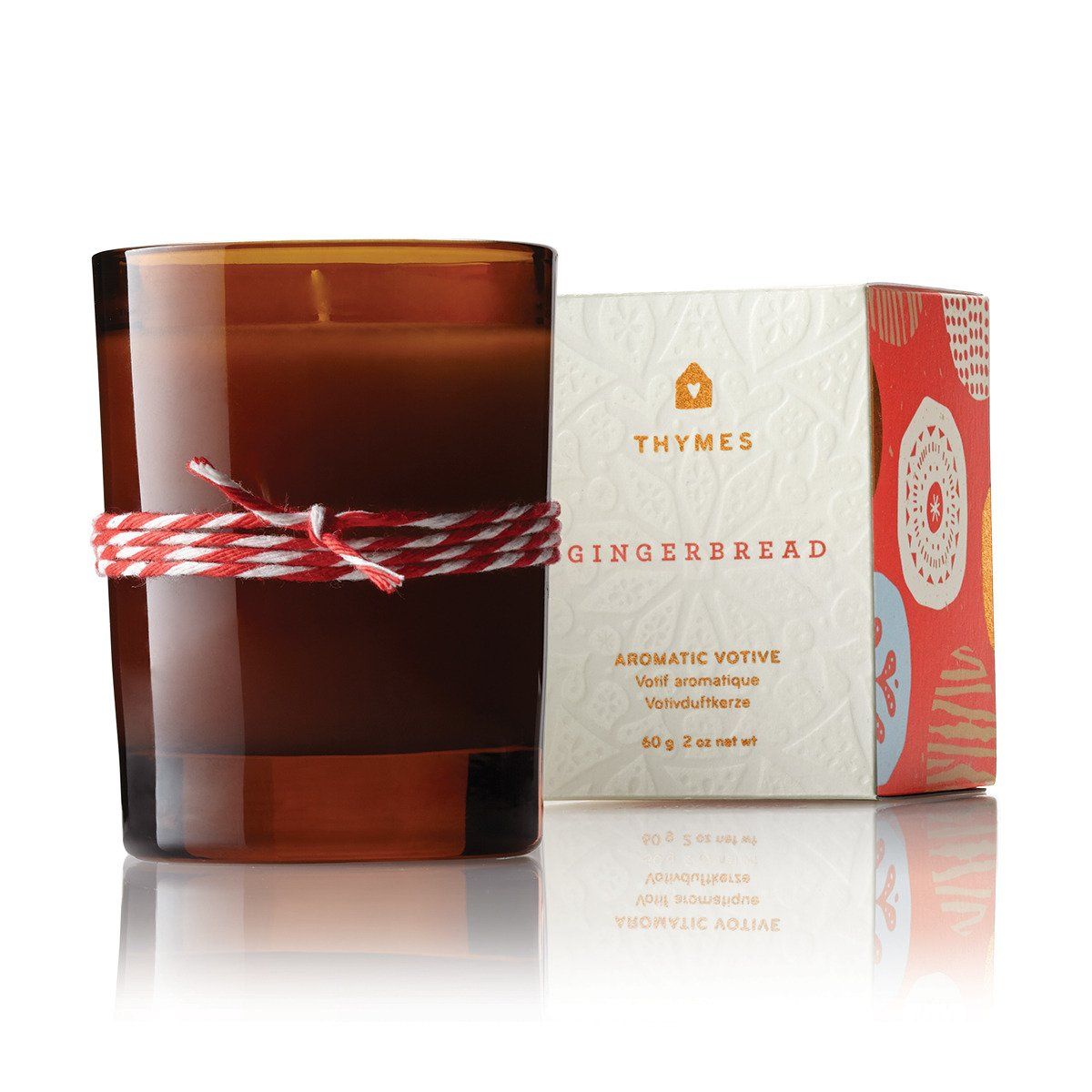 Thymes – Fragrant Gingerbread Votive Candle with 15-Hour Burn Time – 2 Ounces