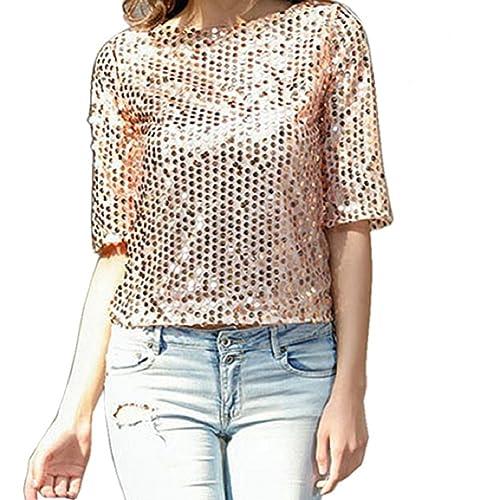 Camisetas Manga 3 4 Mujer Blusa de Verano Fiesta Top de Lentejuelas Brillantes T shirt Túnica Blusas...
