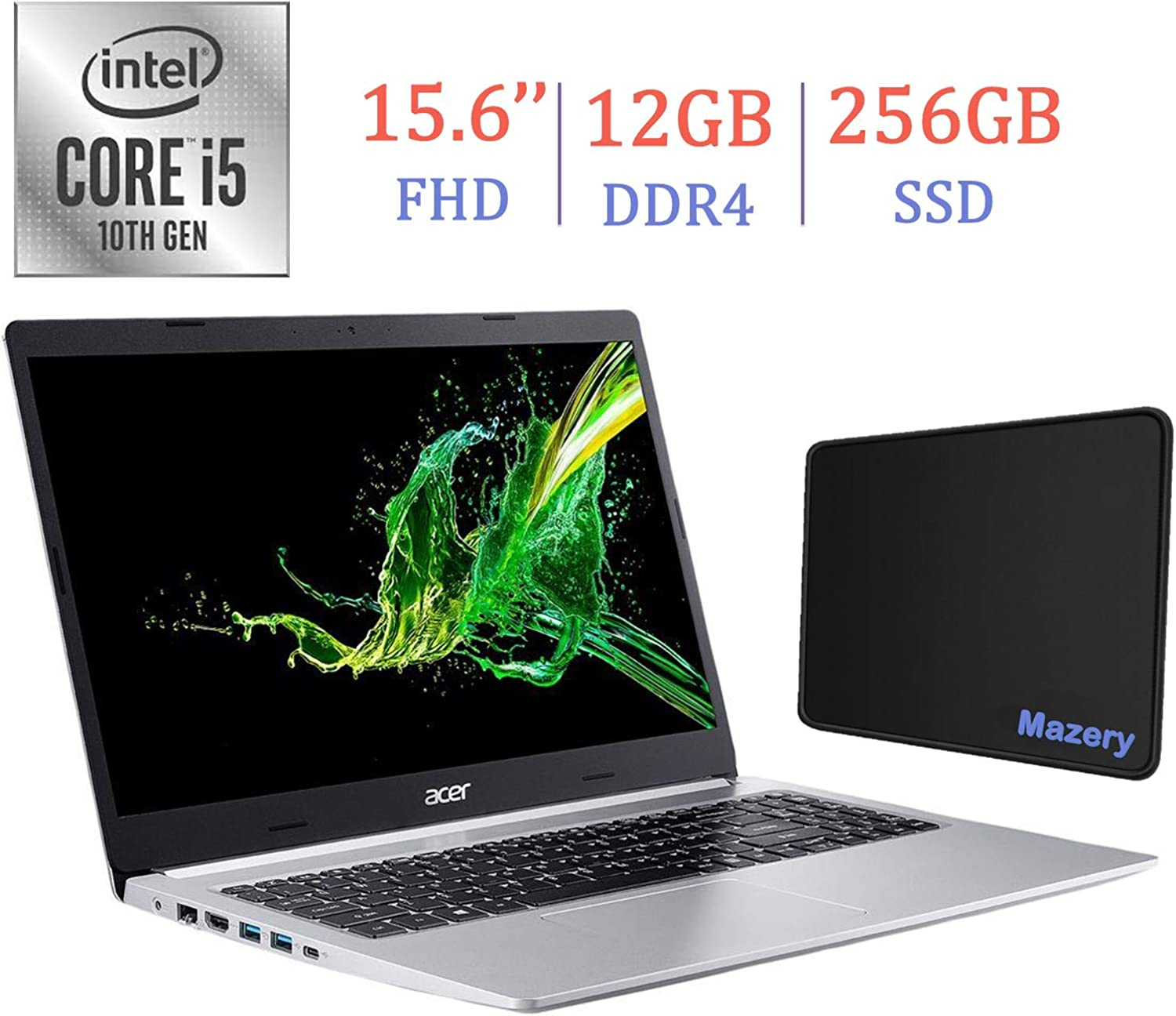 Acer Aspire 5 A515 15.6-inch FHD (1920x1080) Laptop PC, 10th Gen Quad-Core Intel i5-10210U up to 4.2GHz, 12GB DDR4, 256GB SSD, Stereo Speakers, Intel UHD Graphics 620, Windows 10 w/Mazery Mousepad