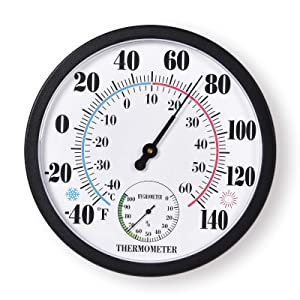 Indoor Outdoor Thermometer Large Numbers Wall Thermometer Hygrometer Waterproof Does not Require Battery 10