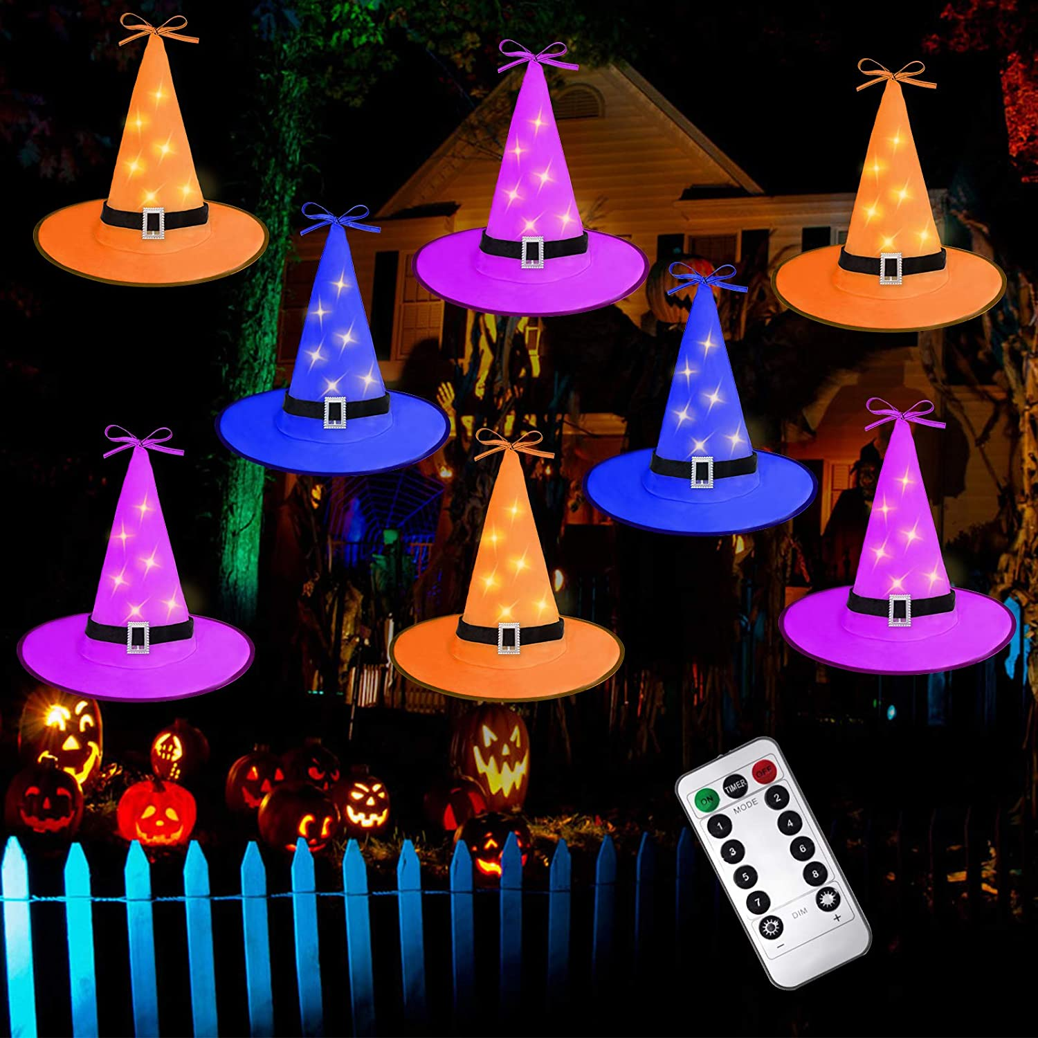 Ivenf NO DIY Halloween Witch Hat String Lights Decorations 8Pcs, 8 Modes Halloween Décor for Outdoor, Yard, Indoor, Tree(Purple/Orange/Blue)