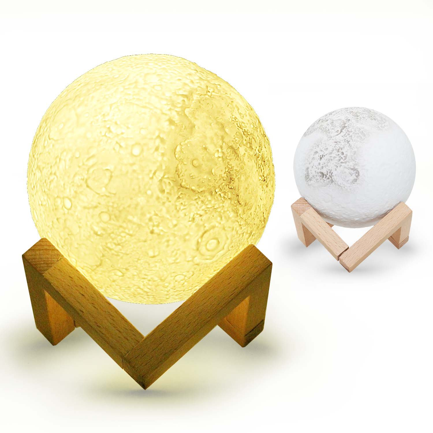Moon Lamp for Gift, Abida Moon Light: Rechargeable 3D LED Glowing Baby Night Light, Shockproof and Durable, Adjustable Brightness and Colors, USB Charging Dimming Bedroom Lamps