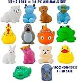 Magnifico™14 Piece Toddler Baby Bathtub Bathing Chu Chu Squeeze Bath Toys Non-Toxic BPA Free, Animal Shape