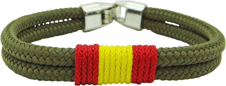 Pi2010 - Pulsera España cordón Verde Militar / 19cm / Bandera de España Trenzada en Frontal/Grosor 4mm / Recomendable medirse muñeca para calcular Talla: Amazon.es: Joyería