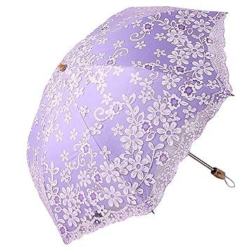 AISI encaje sombrilla de viaje doble plegable anti-UV sombrilla paraguas Vintage, morado