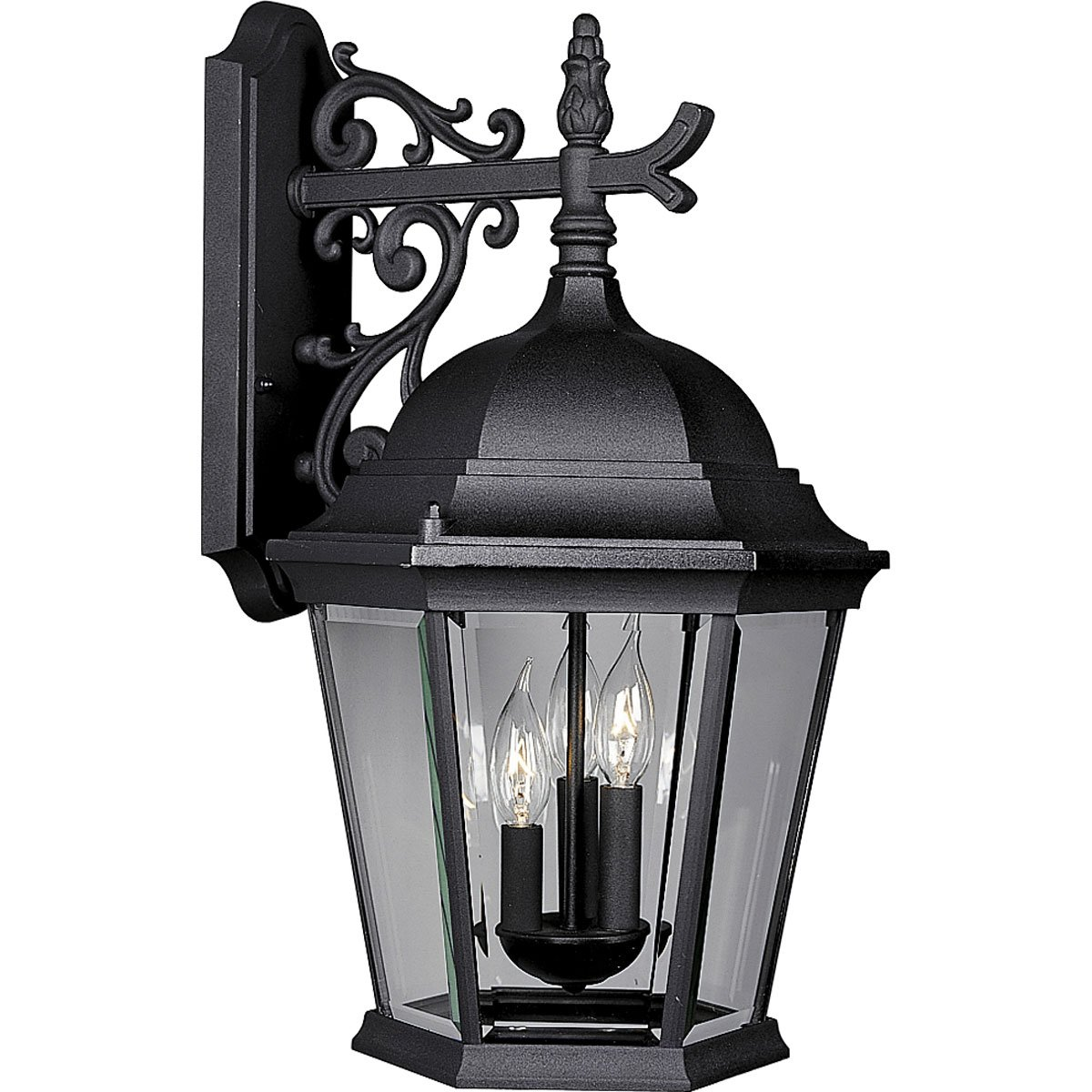 Progress Lighting P5690-31 Wall Lantern with Delicately Detailed, Beveled Glass, Textured Black
