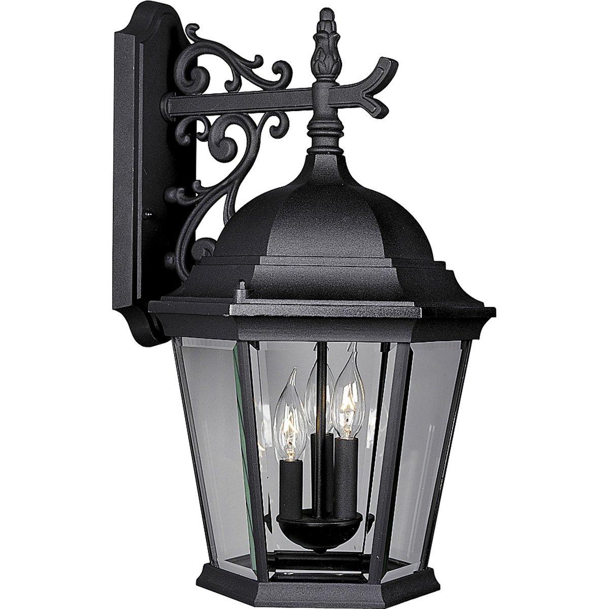Progress Lighting P5690-31 Wall Lantern with Delicately Detailed, Beveled Glass, Textured Black by Progress Lighting