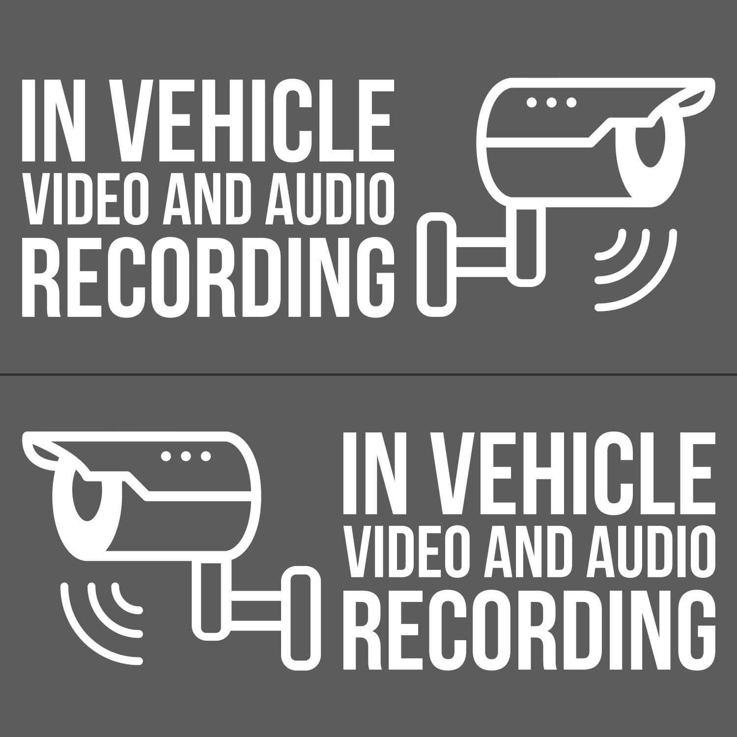 In vehicle video and audio recording vinyl decal stickers dashcam decals 4x 2x for driver side 2x for passenger side white 5 5 w uber lyft
