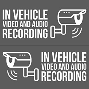 """in Vehicle Video and Audio Recording Vinyl Decal Stickers, Dashcam Decals 4X (2X for Driver Side, 2X for Passenger Side) - White - 5.5"""" W - UBER, LYFT, Rideshare - DASHCAM Security Decal"""
