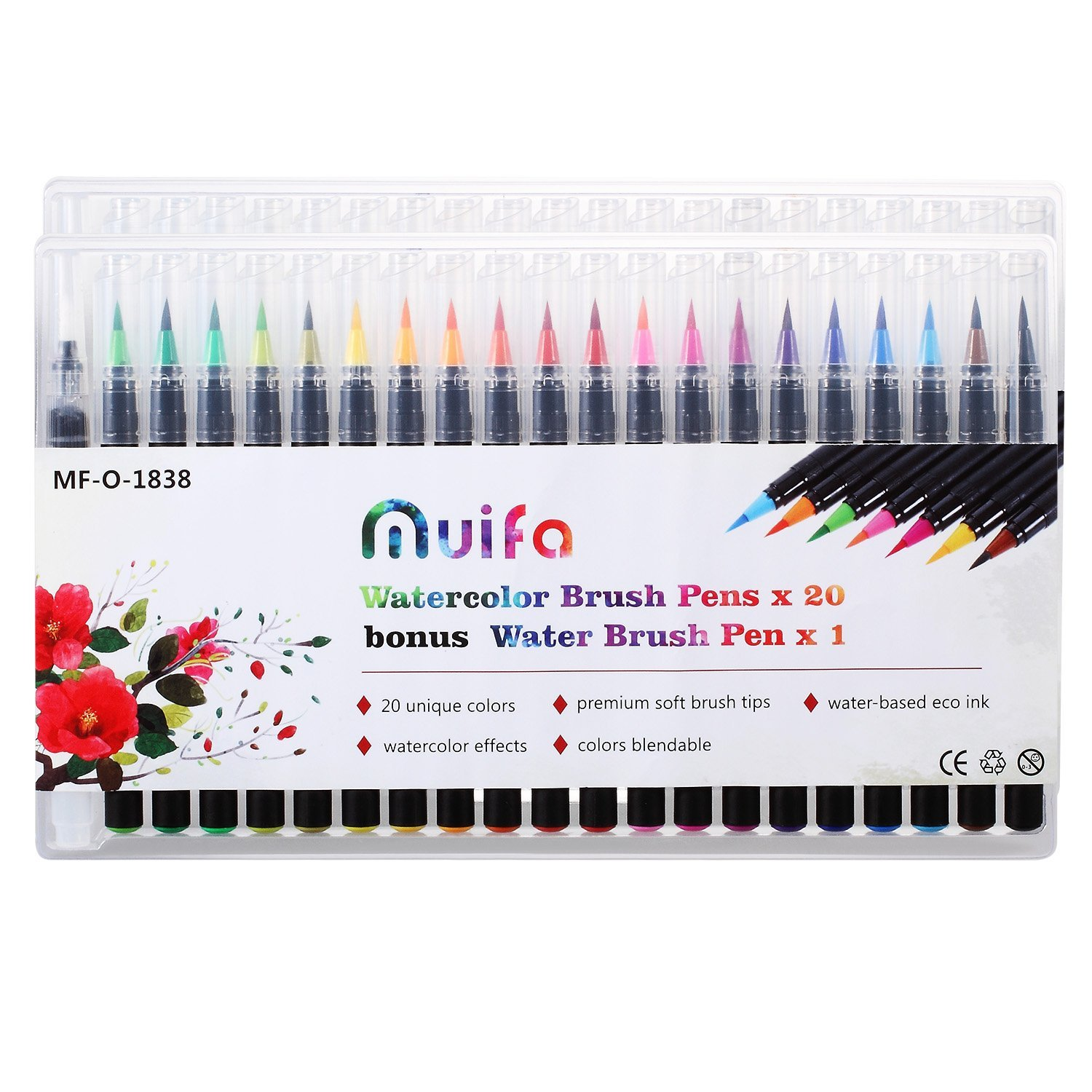 Watercolor Brush Markers Pen, Set of 20 Water Colors Pens and 1 Free Water Brush - Flexible Nibs - For Children and Adults, Art Students, Amateur Painting Lovers and Professional MUIFA 4336961771