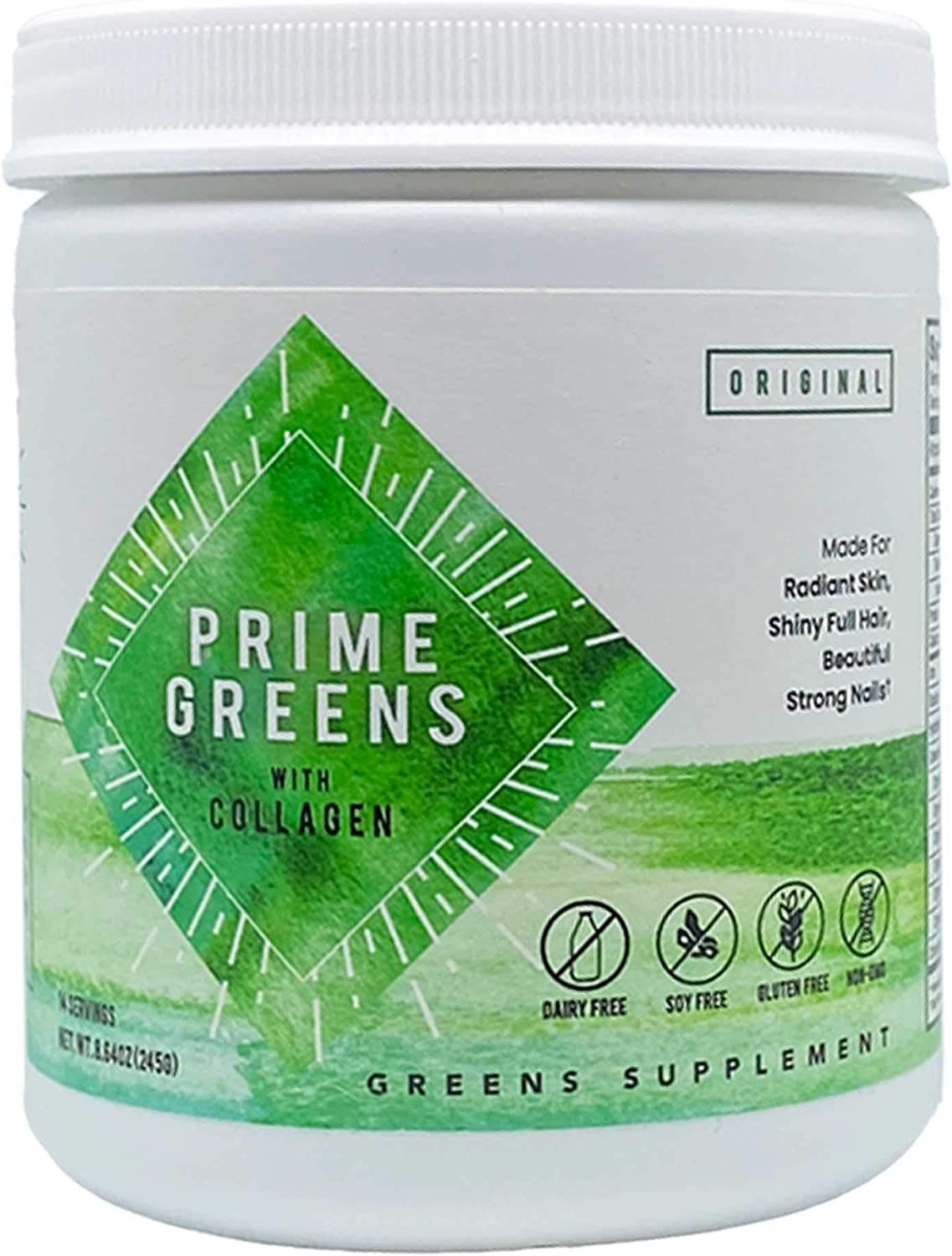 Prime Greens with Collagen   Premium Green Superfood Powder for Detoxification, Radiant Skin, Renewed Energy, Anti-Aging, and Immune-Support