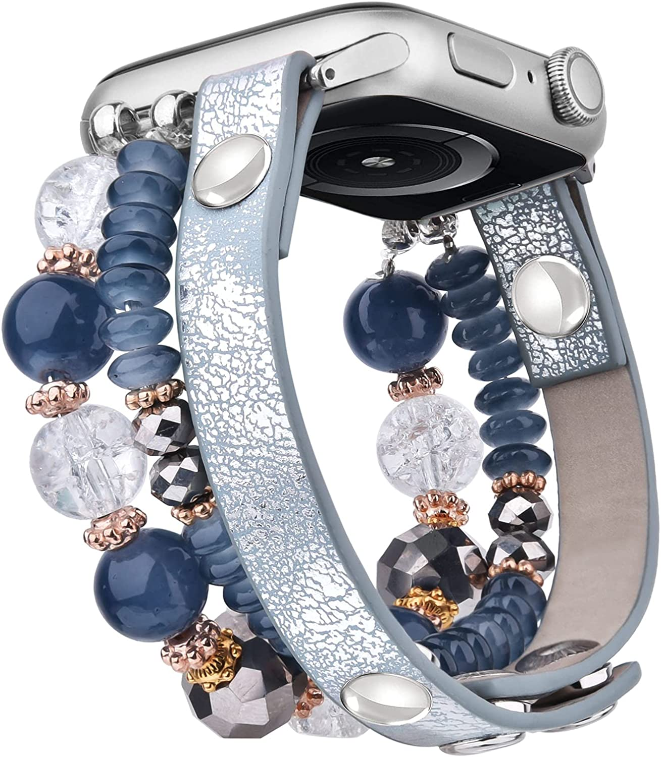 V-MORO Bracelet Compatible with Apple Watch Bands 40mm Series 6 Women Crystal Elastic Stretch Beaded with Bling Calf Leather Replacement for iWatch Series 5/4/3/2/1 38mm/40mm Blue