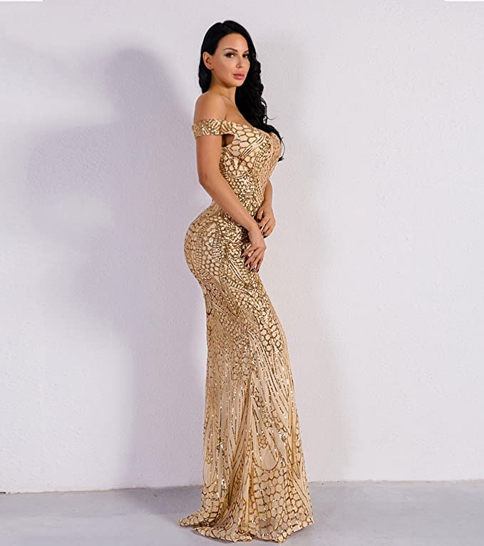 204c746cbb Amazon.com  Miss ord Women s V Neck Sequined Prom Banquet Party Maxi Dress   Clothing