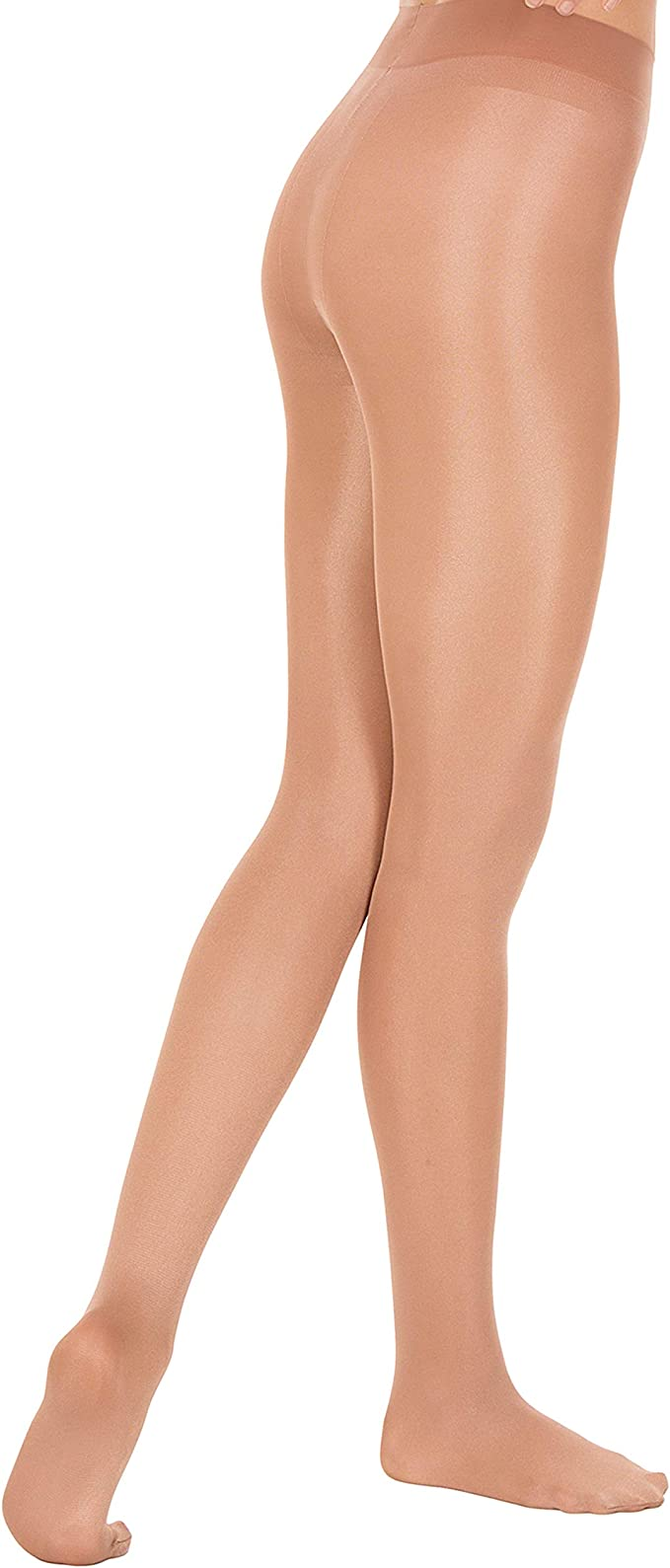 Body Wrappers Childrens shiny Footed Dance Tights Size M 8-10  White New