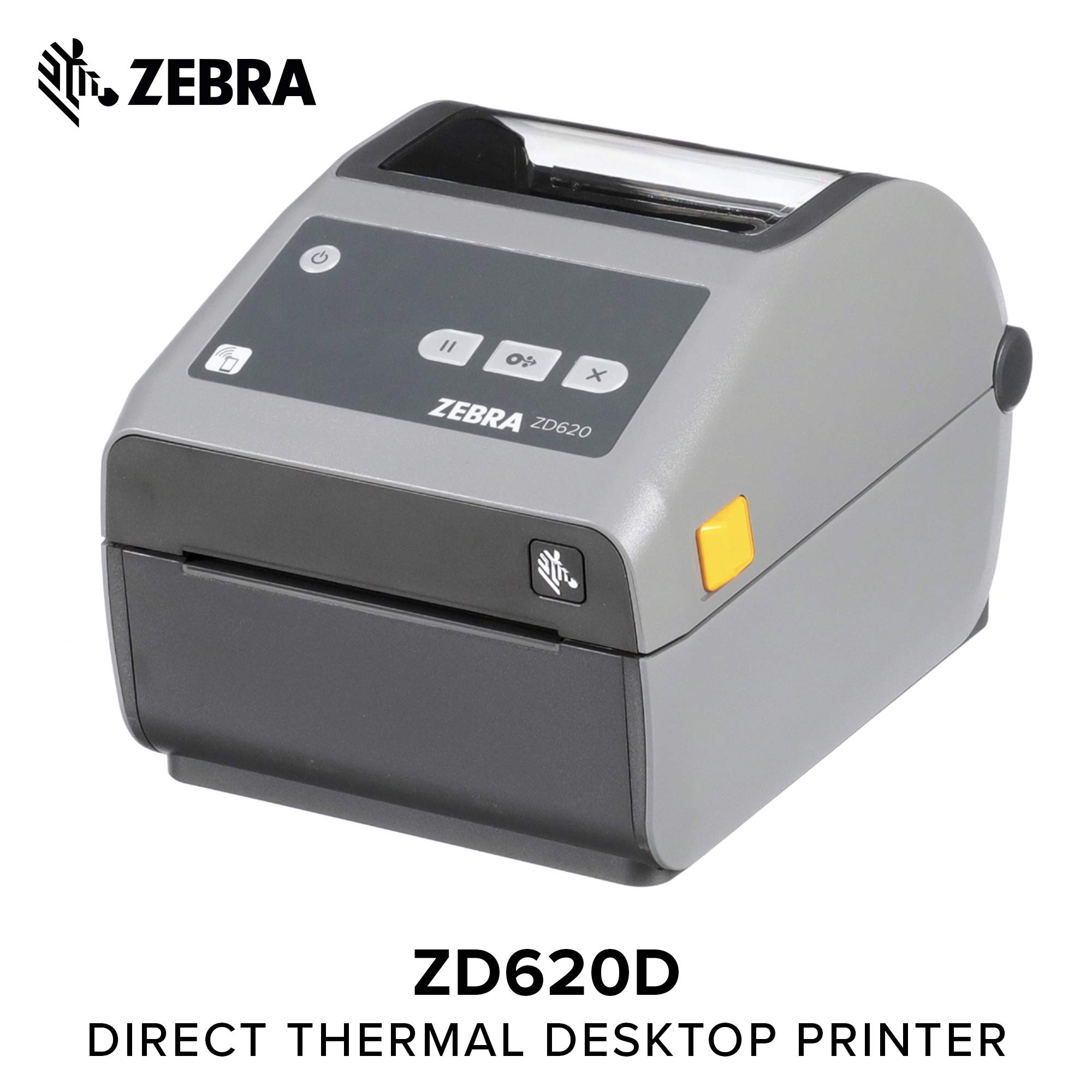 Zebra - ZD620d Direct Thermal Desktop Printer for Labels and Barcodes - Print Width 4 in - 300 dpi - Interface: Ethernet, Serial, USB - ZD62043-D01F00EZ