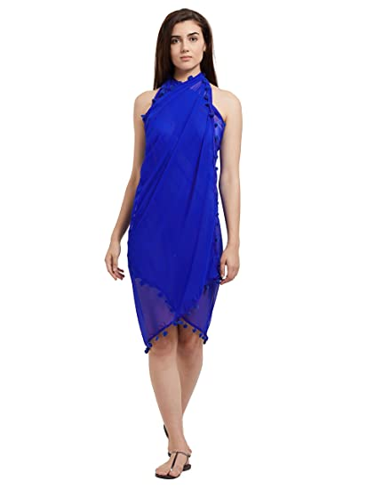 1768f5e3704d5 Image Unavailable. Image not available for. Color: Mirchi Fashion Women's  Beach Wear Wrap Sarong Pareo Lace Work Swimsuit (SP219_Royal Blue)