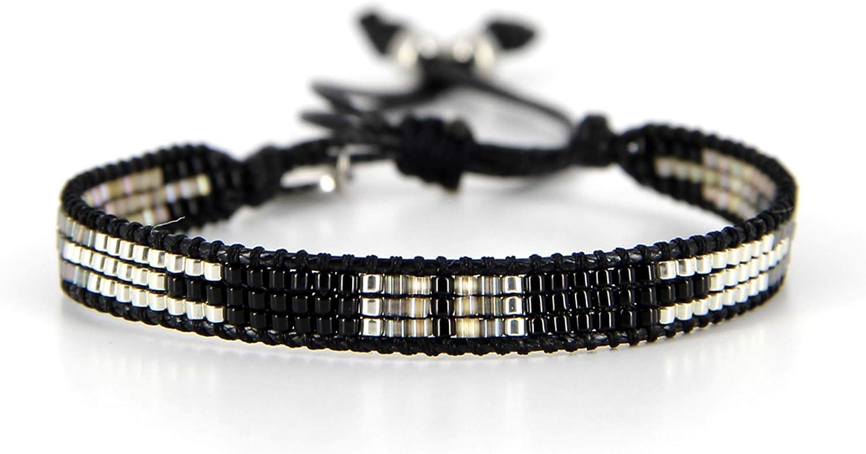 Belle Mais Pas Que Pulsera de cordón Black Rock Silver, perla Miyuki, negro 1