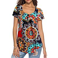 Neitade Women's Shirts Blouses Short Sleeve Button up Tunic Tops