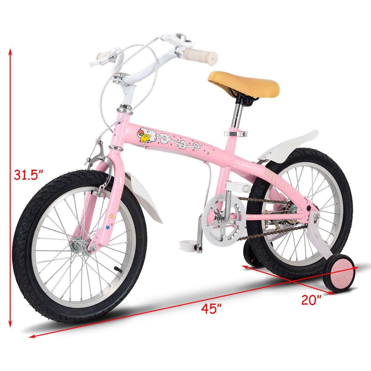FDInspiration Pink 45'' x 31.5'' Metal Frame Kids Bike w/Training Wheels with Ebook by FDInspiration (Image #5)