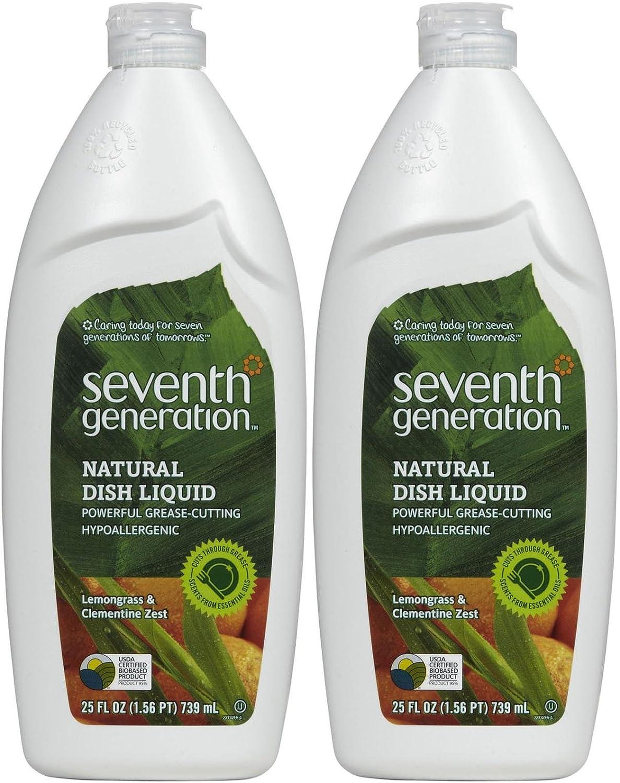 Seventh Generation Dish Liquid - 25 oz - Lemongrass & Clementine Zest - 2 pk