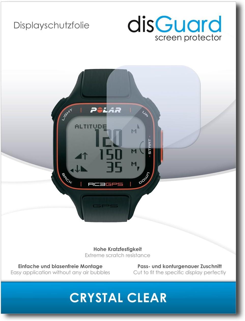 disGuard® Protector de Pantalla [Crystal Clear] compatibile con Polar RC3 GPS [2 Piezas] Cristal, Transparente, Invisible, Anti-Arañazos, Anti-Huella Dactilar - Película Protectora