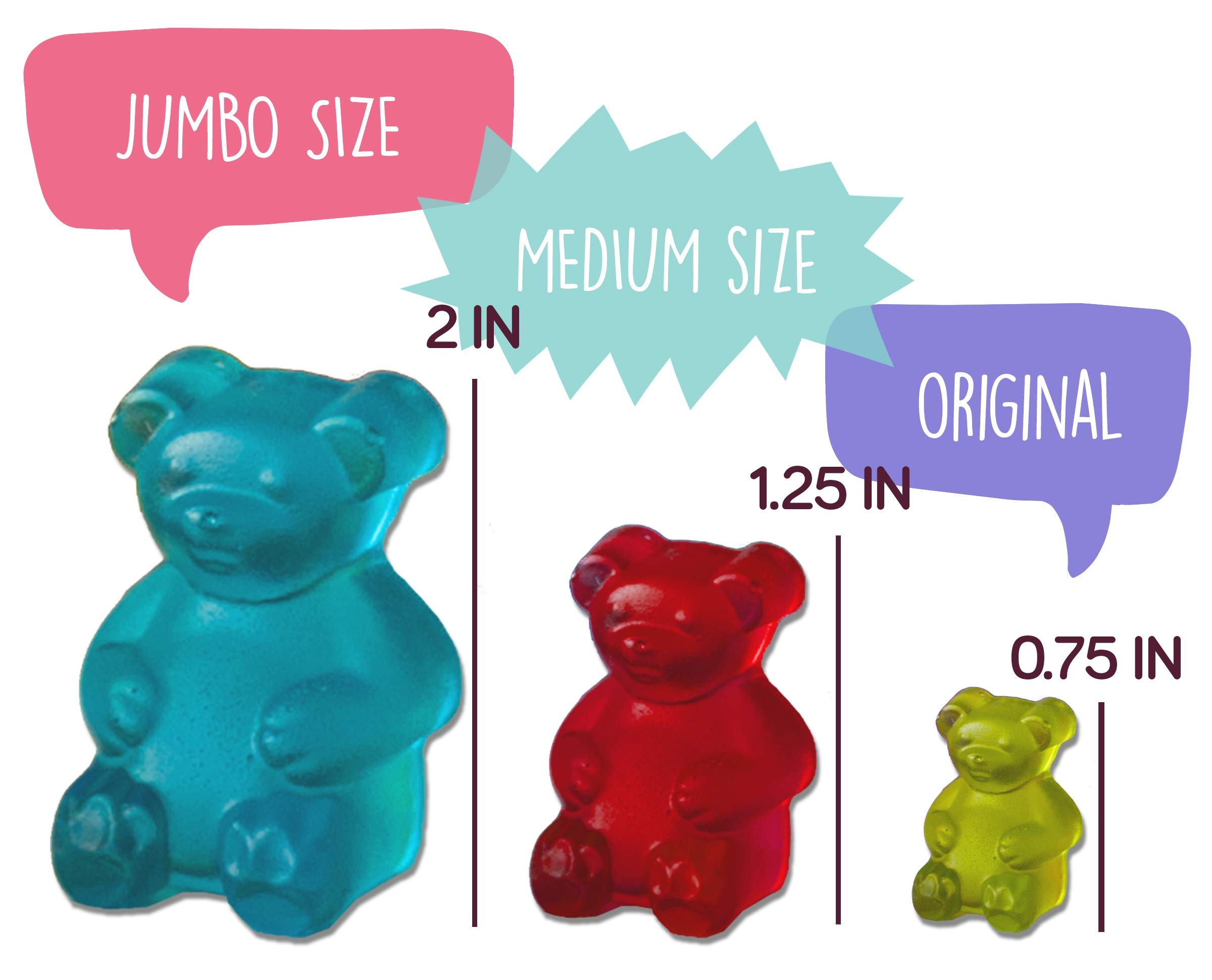 MEDIUM size GUMMY BEAR Mold with BONUS Pinch & Pour Cup + Dropper - by the Modern Gummy; Gelatin GUMMY Recipe on Package & FULL RECIPE PDF via EMAIL, PROFESSIONAL GRADE PURE LFGB SILICONE by The Modern Gummy (Image #1)