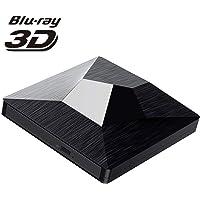 TOPELEK Grabadora BLU-Ray, Forma de Diamante Negro,Unidad Externa CD/DVD/BD,USB3.0yTipo C,DVD Reproductor Bluray 3D,Diseño Moderno y Transmisión Ultrarrápida para Windows XP / 7/8/10 y Mac OS