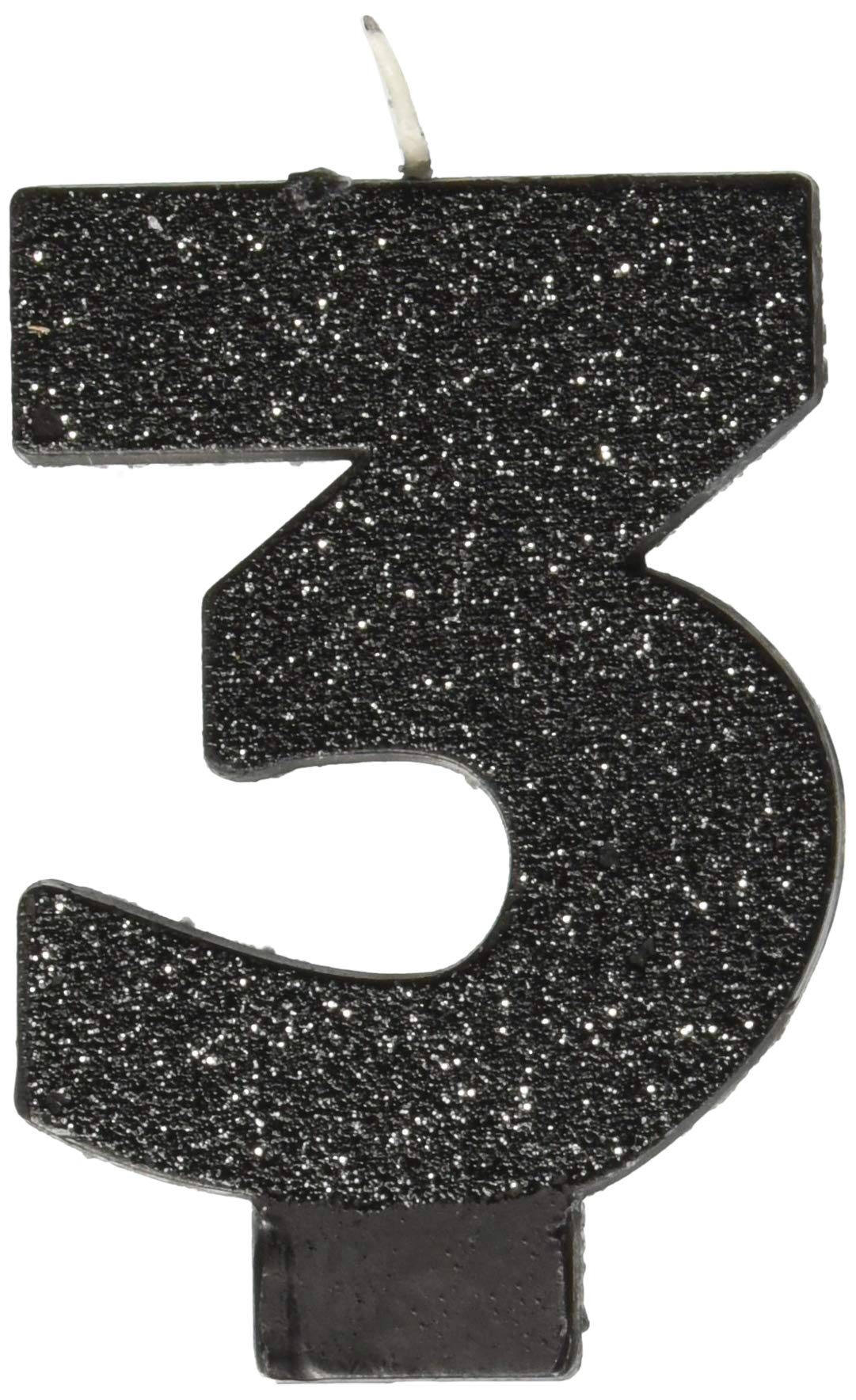 Amscan Birthday Celebration, Numeral #3 Glitter Candle, Party Supplies, Black, 3 1/4''