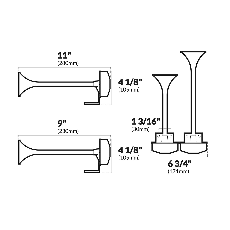 12V FO-3034-1 Five Oceans Marine Dual Electric Marine Trumpet Horn Set