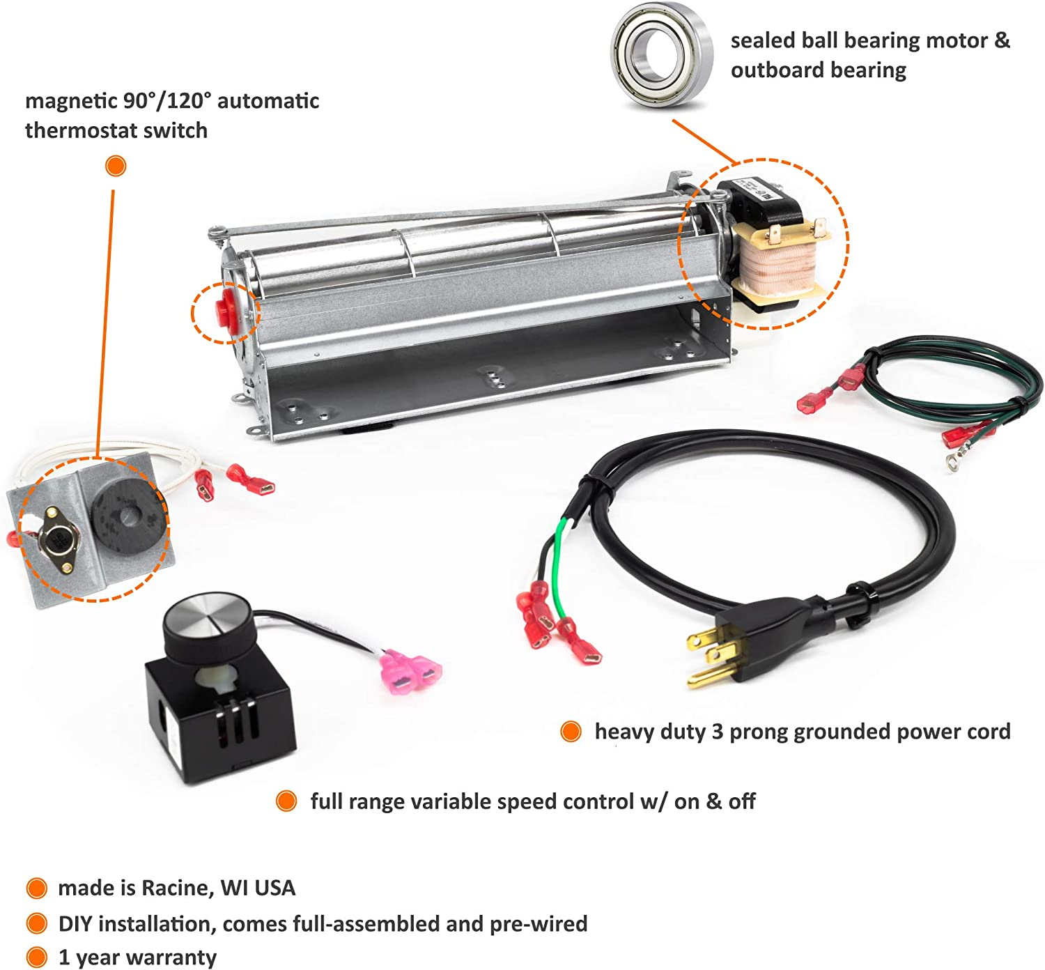 wiring diagram for wood stove blower amazon com fireplaceblowersonline gfk4 gfk4a fk4 fireplace blower  gfk4 gfk4a fk4 fireplace blower