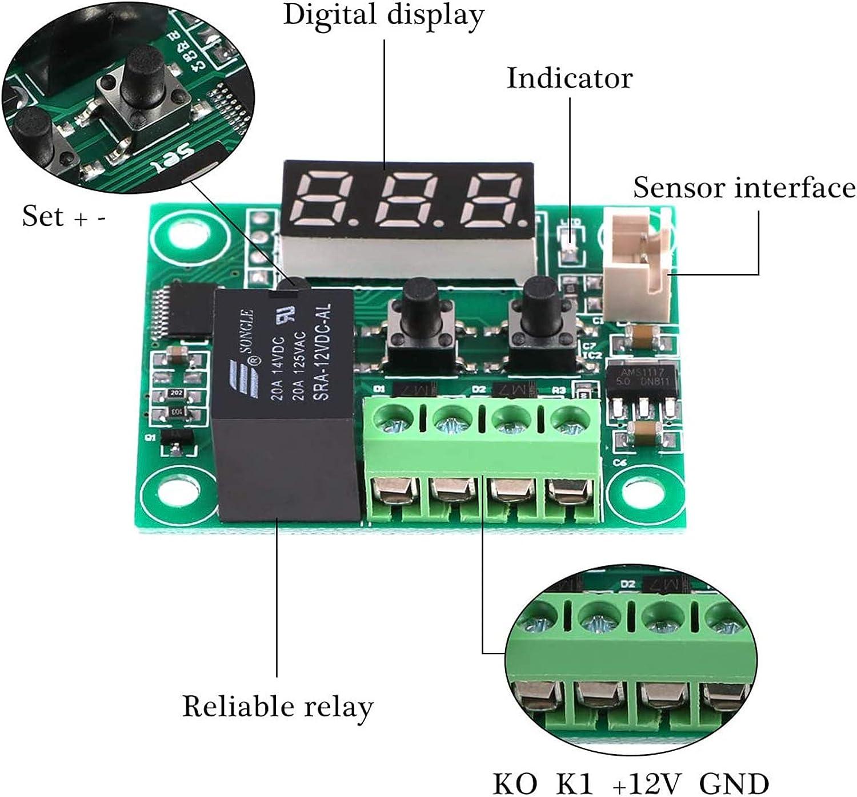 ZHITING 2pcs W1209 LED Red Digital Thermostat Contr/ôleur module 12V DC thermostat num/érique -50-110/°C Electronic Temperature avec 30cm /étanche Sonde NTC(With Case