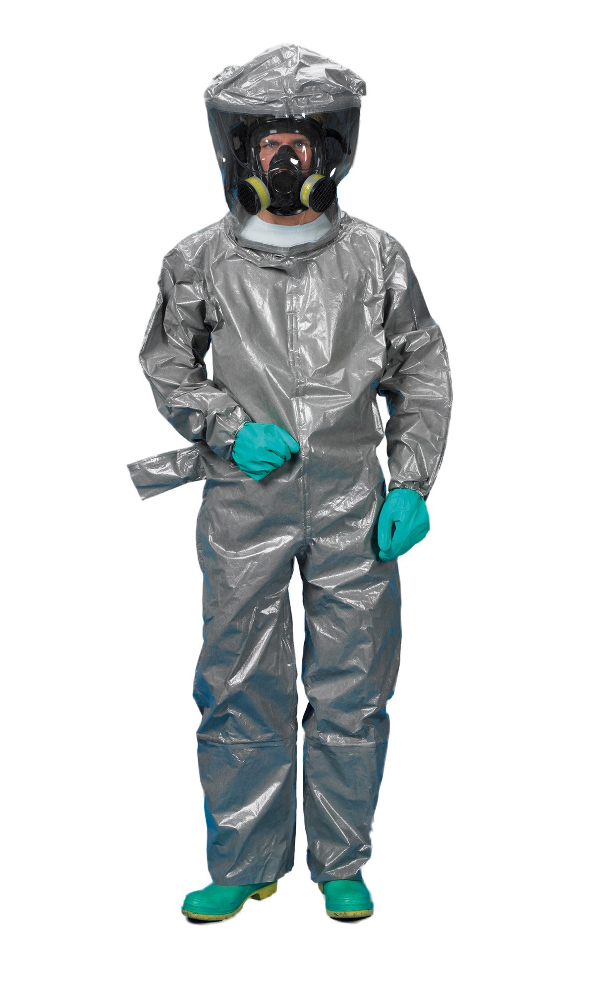 Lakeland ChemMax 3 TES Taped Level B Encapsulated Suit with Flat Back and Back Entry, Disposable, Elastic Cuff, 3X-Large, Gray
