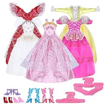 Pinzhi - 5 Vestidos Hecho a Mano y 10 Pares de Zapatos para para Barbies Muñecas