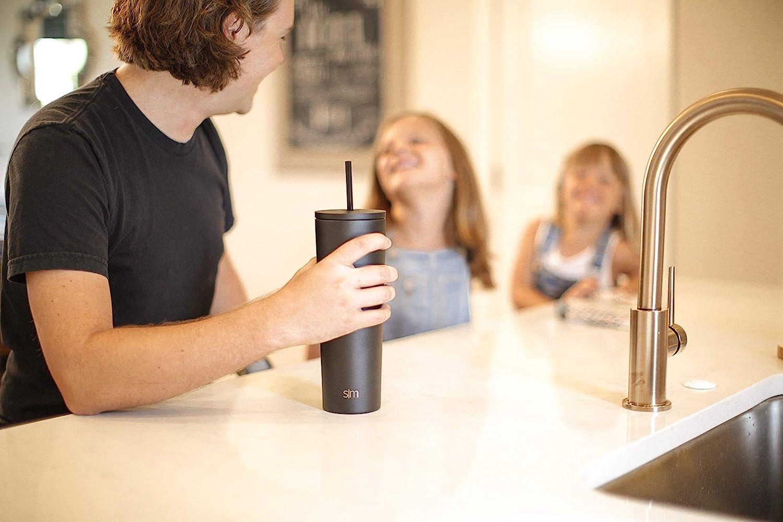 Botella Agua Acero Inoxidable Mujer u Hombre Taza Termica para Llevar Vaso Termico de Viaje 4 Horas Calientes 16 Horas Frias Abatible y con Paja Simple Modern Classic 470ml Termo Cafe con 2 Tapas