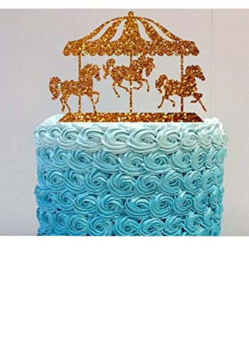 Amazon.com: Happy Birthday Cake Topper Carousel Horses Cake Topper ...