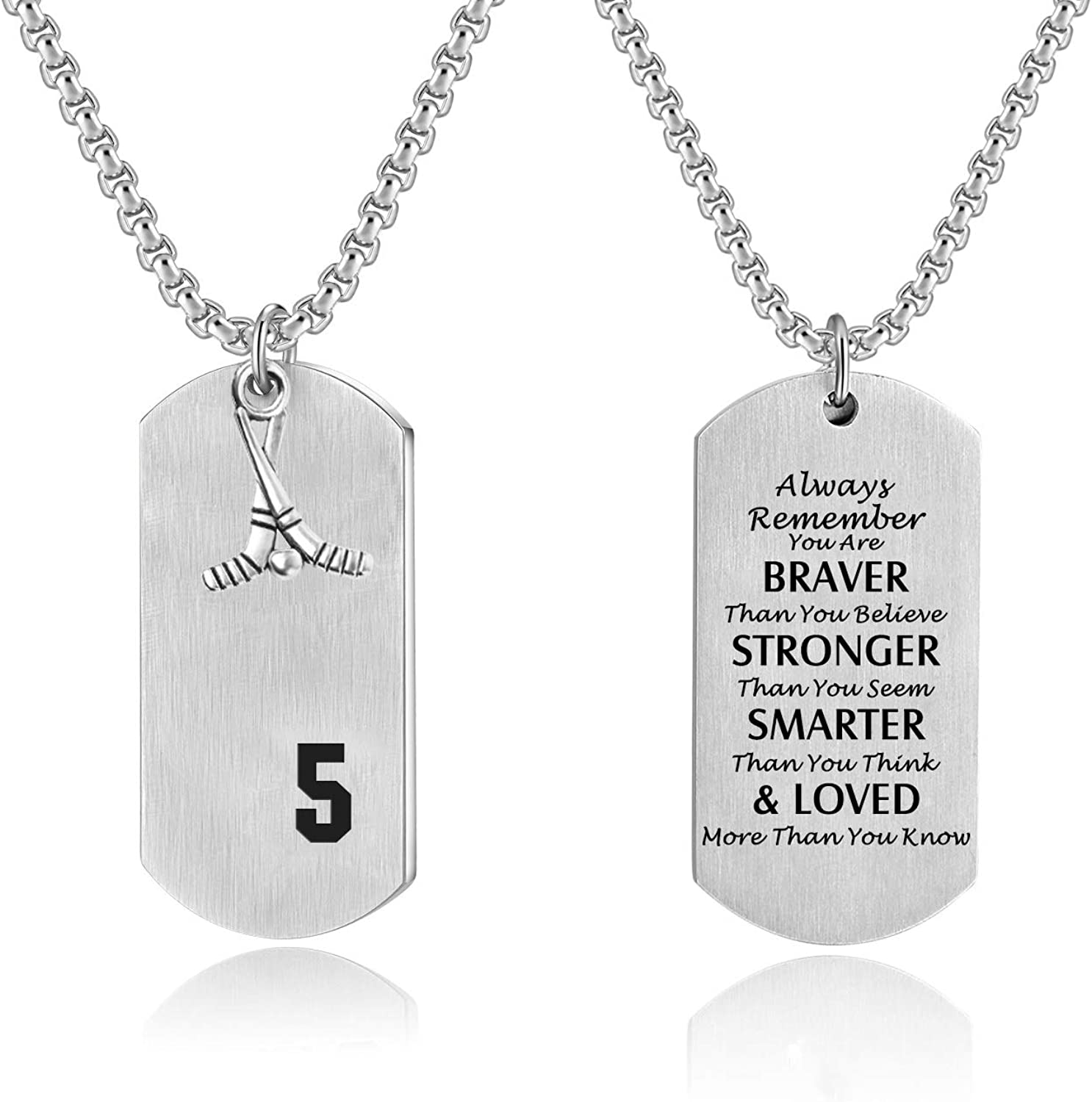 VI.SPORT Stainless Steel Hockey Player Necklace Stainless Steel Dog Tag Pendant Philippians 4:13 I Can Do All Things and You are Braver