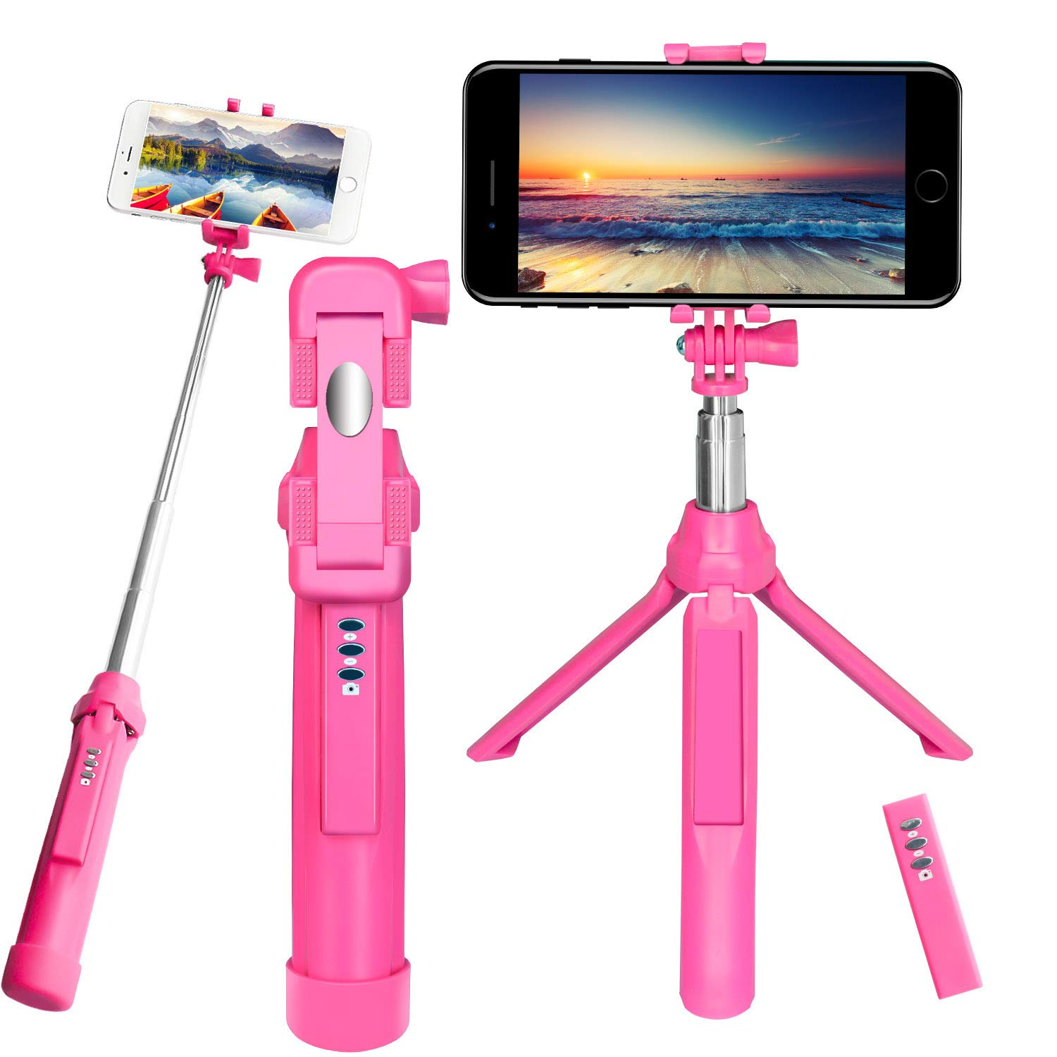 Bluetooth Selfie Stick, Peyou® [3 in 1] Wireless Selfie Stick Extendable Monopod Handheld Tripod Stand w/ Removable Remote Shutter up to 35.4' for Gopro Camera, for iPhone X 8/8 Plus 7/7 Plus, for Samsung Galaxy Note 8 S8/S8 Plus S7/S7 Edge and Smartph