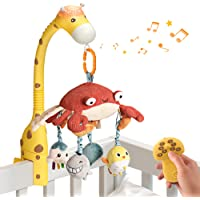 tumama Baby 0-6 Month Cot Mobile Crib Toys Giraffe Musical Lights Remote Control with Mirror Soft Hanging Rattles…