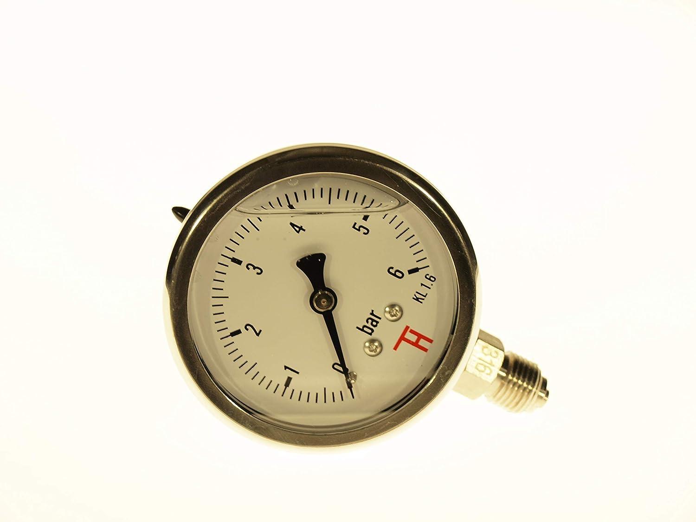0 /– 25 bar con penna Bourdon connettore dal basso 63 mm 304CHG THERMIS Manometro in acciaio inox