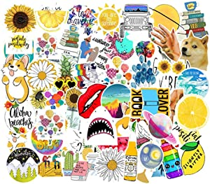Cute Stickers for Water Bottles, 53 Pack Big Waterproof Laptop Stickers Trendy Aesthetic Stickers for Guitar,Laptop,Luggage,Skateboard, Stickers for Kids,Girls,Teens,Adults