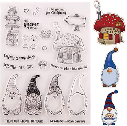 3 Sets Christmas Cute Santa Clause Wearing Christmas Hat Stamps and Die Set for Card Making and Scrapbooking
