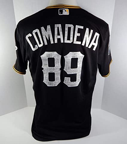 47aec8decb1 2018 Pittsburgh Pirates Jordan Comadena #89 Game Used Black ST ...