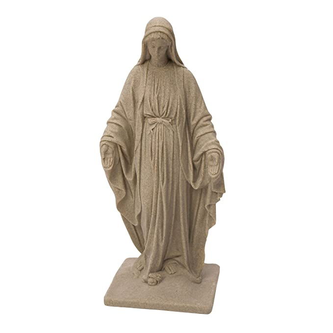 Emsco Group Virgin Mary Statue - Natural Sandstone Appearance - Made of Resin - Lightweight - 34
