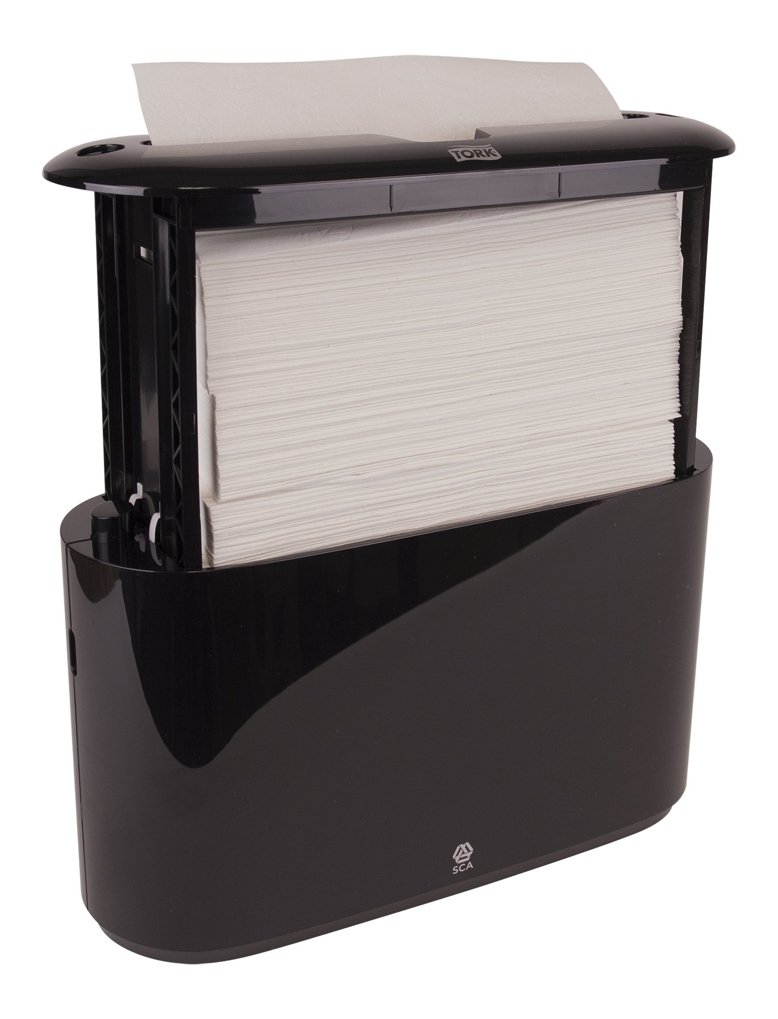 Tork 302028 Xpress Countertop Multifold Hand Towel Dispenser, Plastic, 7.92'' Height x 12.68'' Width x 4.56'' Depth, Black, for use with Tork MB550A, MB640, MB540A, H2/H23 by Tork (Image #6)