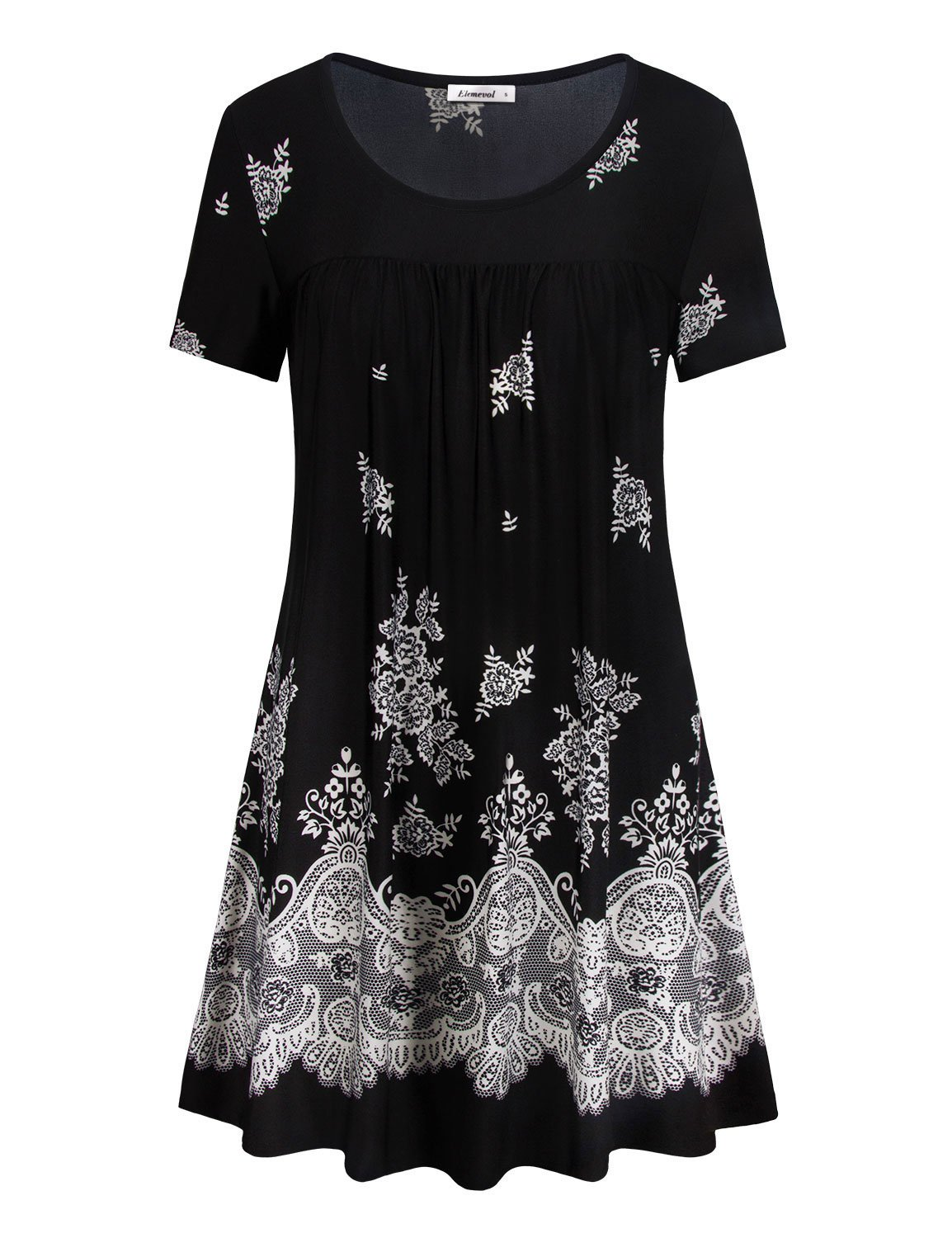 Short Sleeve Tunic,Flared A Line Stylish Floral Printed Scoop Neck Vintage Paisley Style Womens Work Blouse Dressy Shirts Black XXL