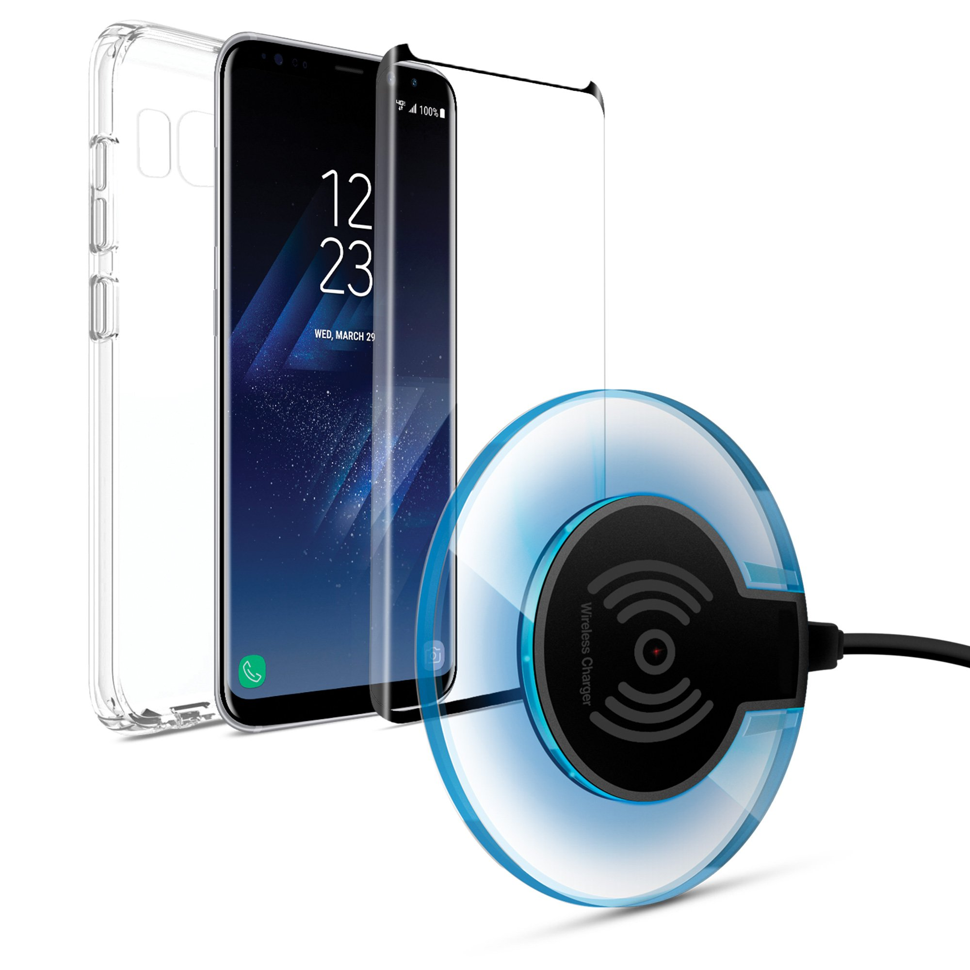 Naztech Wireless Starter Bundle Kit For Galaxy S8. Includes Cable Free Wireless Charging Pad that Chargers Your iPhone On Contact, 9H Tempered Glass Screen Protector/Phone Case For Qi-Enabled Devices.