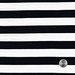 "1"" Black/Off White Stripe on Rayon Jersey Stretch Knit Fabric by The Yard- 1 Yard"