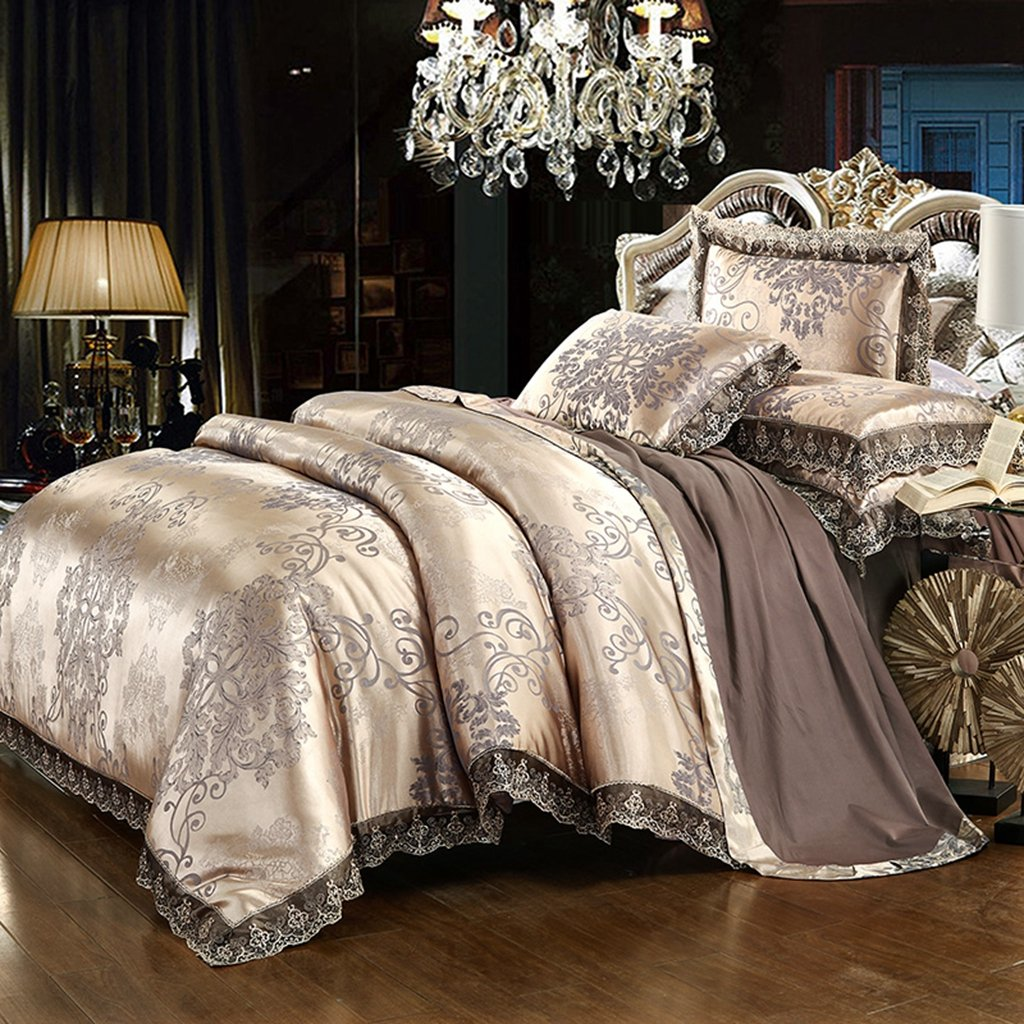 Chesterch Prevoster Duvet Cover Set Satin Embroidery Bedding Luxury European Neoclassical Style,3 Piece(Duvet & Down Comforter Cover and 2 Pillowcases),Full Queen Size
