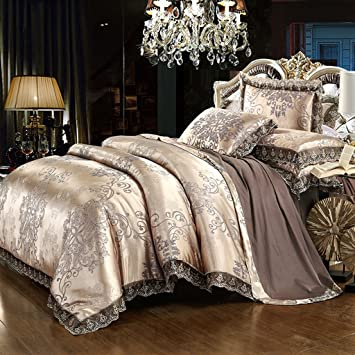 belles maison satin embroidery duvet cover set luxury european style bedding3 piece