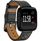 Kartice for Fitbit Versa Bands Women Men, Kartice Replacement and Colorful Leather Bands + Metal Clasp Strap Bracelet Adjustable Wristbands for Fitbit Versa Smartwatch (Black 2)